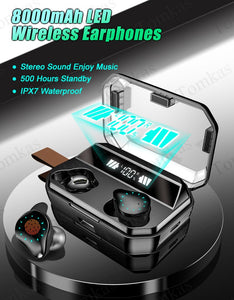 8000mAh Bluetooth Wireless Earphones - Waterproof Earbuds With LED Display - ManKave Gifts & Accessories