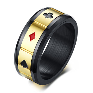 Lucky Playing Card Poker Game RING -  Mens Accessories - ManKave Gifts & Accessories