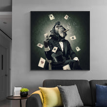 Load image into Gallery viewer, Smoking and Playing Card Monkey Wall Art
