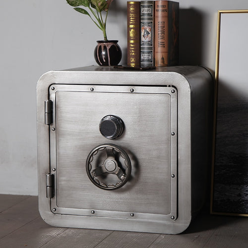 Industrial Style Safe Cabinet - Wrought Iron Bedside Table - ManKave Gifts & Accessories