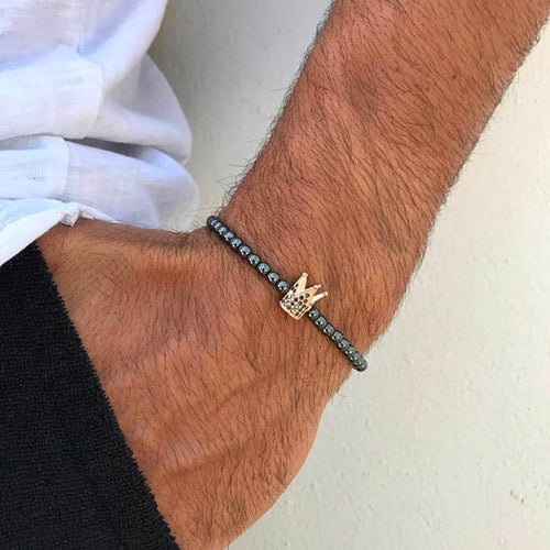 Men's Charm Bracelet with Hematite Beads - ManKave Gifts & Accessories