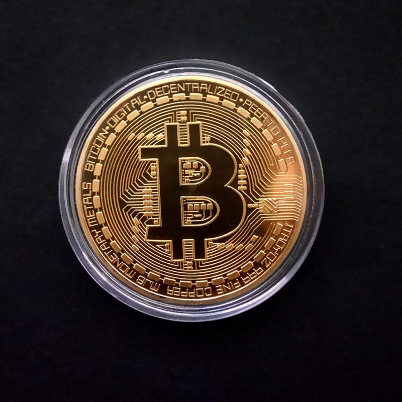 Bitcoins Coins Metal Gold Plated Souvenir Gift - ManKave Gifts & Accessories