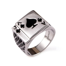 Load image into Gallery viewer, Poker Ring / Ace of Spades Ring -  Men's fashion - ManKave Gifts & Accessories