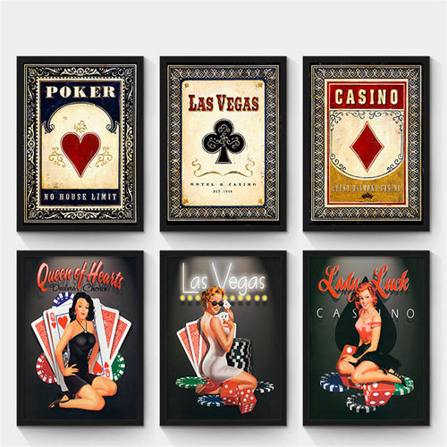 Creative canvas decorative art prints - Poker wall poster - ManKave Gifts & Accessories