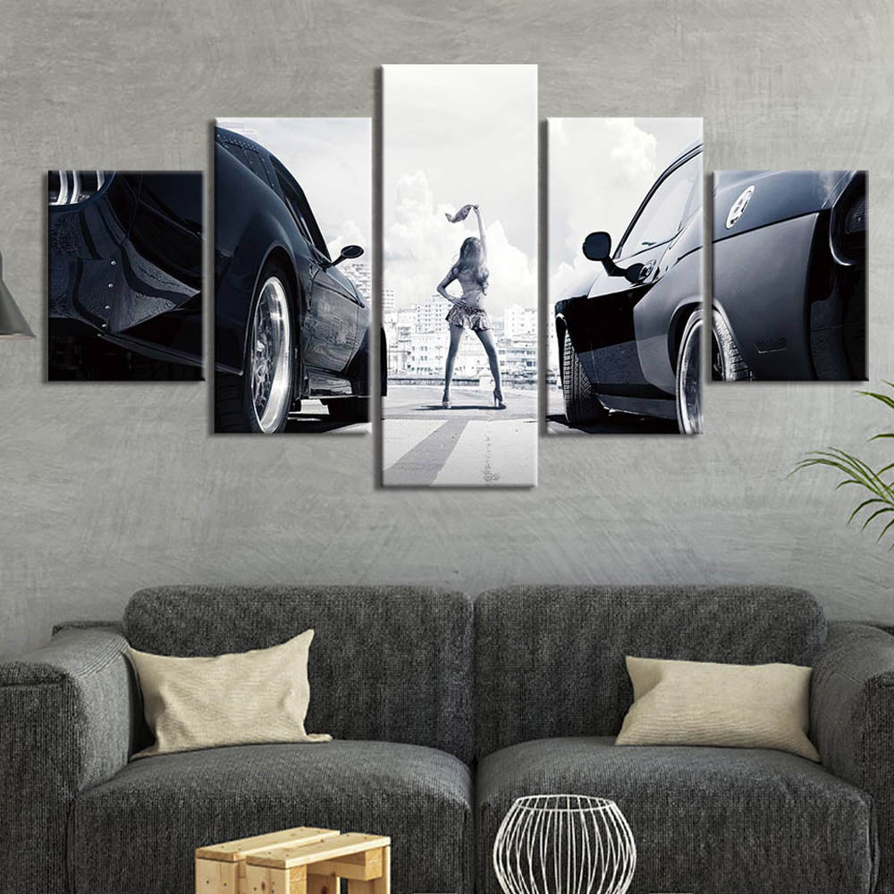 Fast And Furious Racing Cars Poster Canvas  Wall Art 5 Piece - ManKave Gifts & Accessories