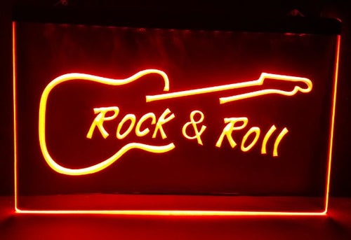 Rock and Roll Guitar Music LED Sign - ManKave Gifts & Accessories
