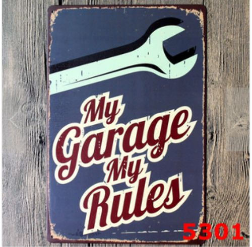 My Garage My Rules Retro Vintage Metal Sign - ManKave Gifts & Accessories