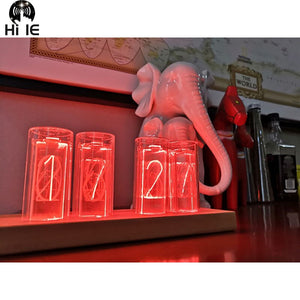 Glow Tube Digital Clock - Solid Wood Creative Gift Retro LED Home Clock - ManKave Gifts & Accessories
