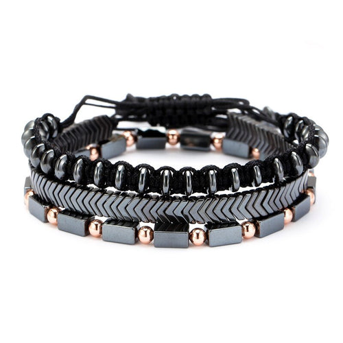 Mens Bracelet Set - Braided Rope / Natural Hematite / Stone - ManKave Gifts & Accessories