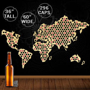World Bottle Beer Cap Map - Handmade Hanging Map Of The World - ManKave Gifts & Accessories