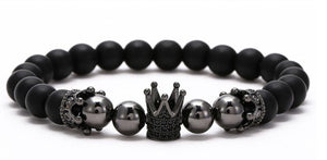 Mens Cubic Zirconia Mens Bracelet - Crown Detail - ManKave Gifts & Accessories