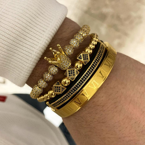Luxury Royal Crown Charm Bracelet Set for Men - ManKave Gifts & Accessories