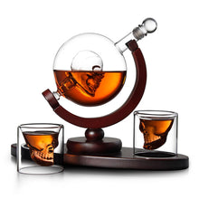 Load image into Gallery viewer, Whiskey Decanter Skull Globe Set - With 2 Glasses - ManKave Gifts & Accessories