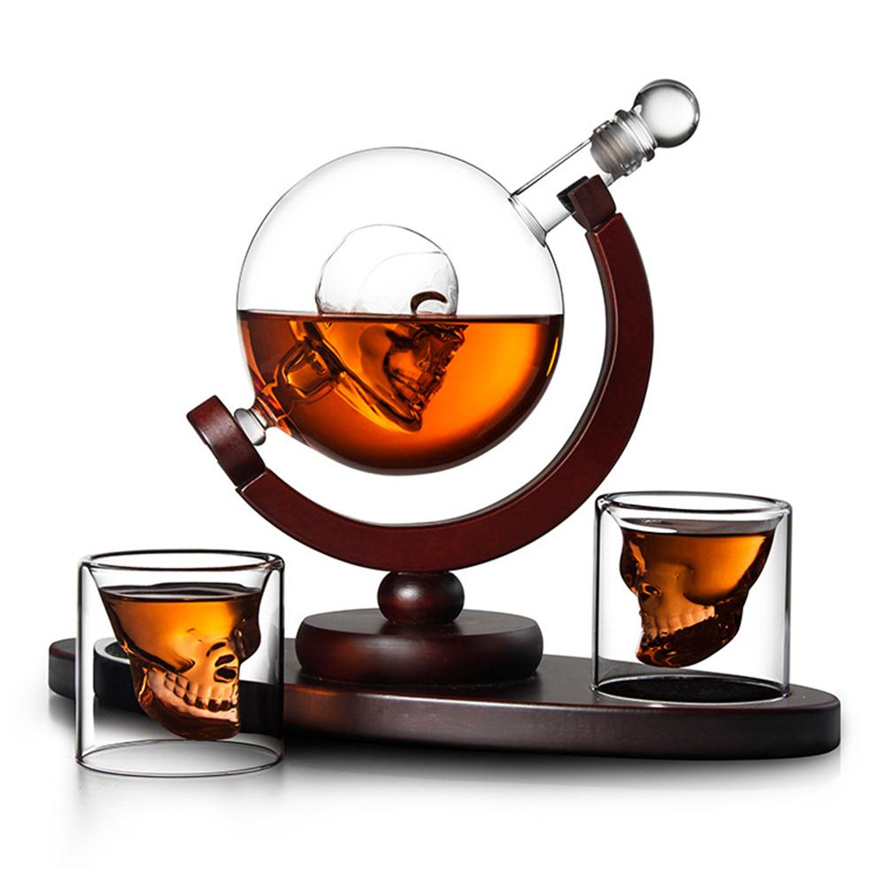 Whiskey Decanter Skull Globe Set - With 2 Glasses - ManKave Gifts & Accessories