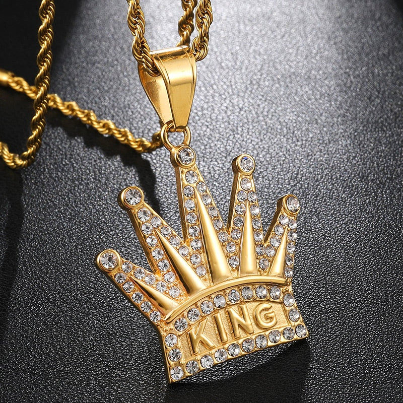 Bling Iced out Crown KING Mens Pendants Necklaces - ManKave Gifts & Accessories