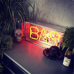 Vintage Metal Neon Box Lamp - BAR Neon Sign