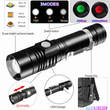Load image into Gallery viewer, 12000LM Super Bright Led flashlight - USB Rechargeable Torch - ManKave Gifts & Accessories