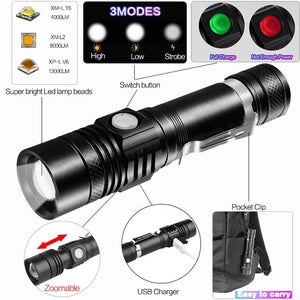 12000LM Super Bright Led flashlight - USB Rechargeable Torch - ManKave Gifts & Accessories