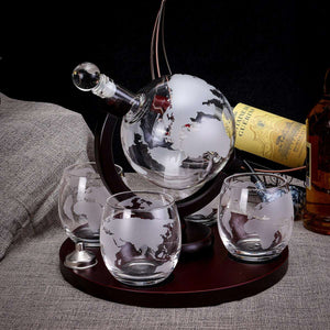 Drinks Globe Decanter Set -  Whiskey Drink Bottle & Glasses