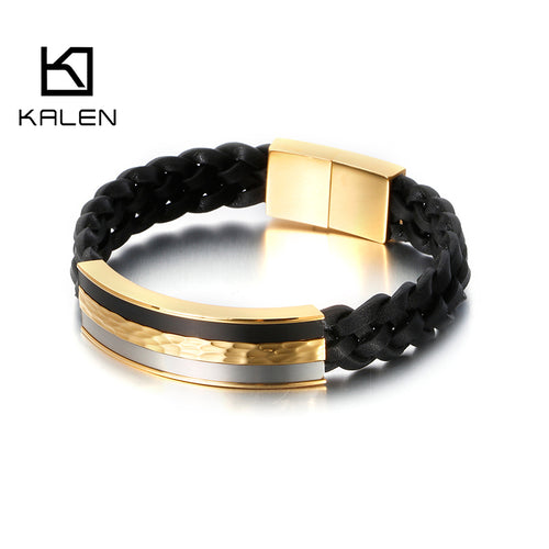 Black Genuine Leather Bracelet for Men - ManKave Gifts & Accessories