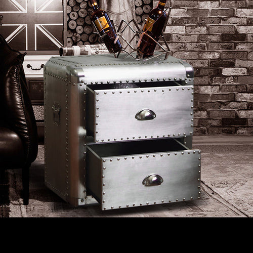 Aluminium Metal Rivets High End Furniture Bedside Cabinet - ManKave Gifts & Accessories