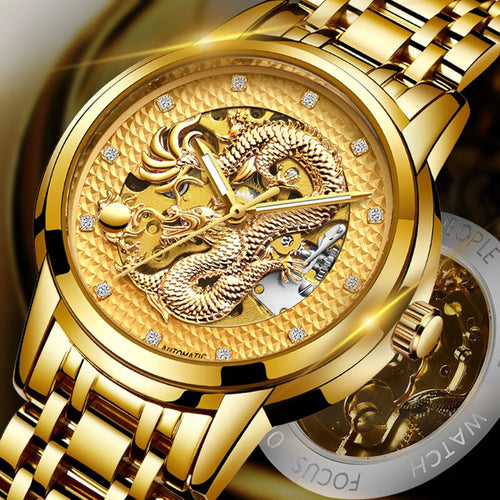 Dragon Skeleton Automatic Mechanical Watch For Men - 3 Colours - ManKave Gifts & Accessories