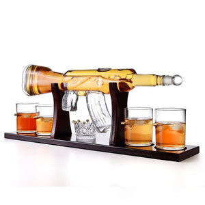 AK47 Gun Whiskey Decanter Glass Set with 4 Bullet Glasses & Mahogany Wooden Base - Exclusive - ManKave Gifts & Accessories