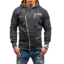 Load image into Gallery viewer, Oblique Zipper Mens Fashion Hoodie