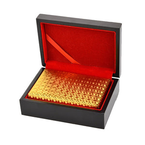 Gold Poker Playing Cards in Wooden Gift Box