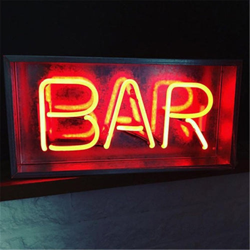 Vintage Metal Neon Box Lamp - BAR Neon Sign - Man-Kave