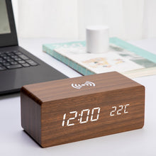 Load image into Gallery viewer, Wooden Alarm Clock With Wireless Charging Pad for Phone - ManKave Gifts & Accessories