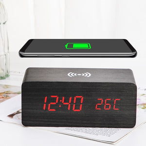 Wooden Alarm Clock With Wireless Charging Pad for Phone - ManKave Gifts & Accessories