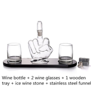 6PCS Gift Set - Creative Finger Shape Glass Bottle Decanter Set