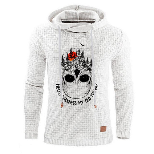 Mens Hooded Sweatshirt - Skull Darkness print - Man-Kave