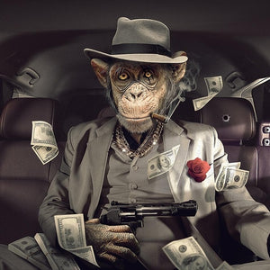 Monkey Animal Poster - Gangster Modern Wall Art - Man-Kave