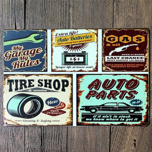 My Garage My Rules - 20x30cm Retro Tin Sign - Man-Kave