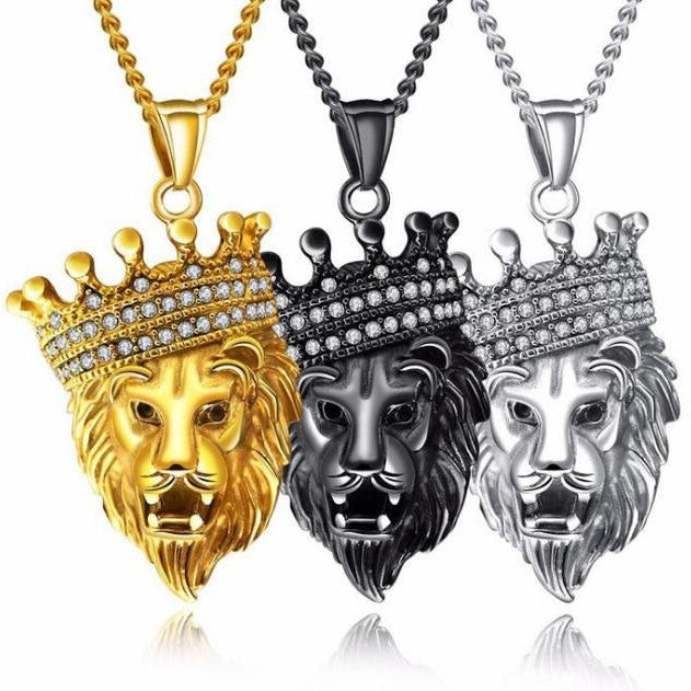 Lion Head & Crown Pendant & Chain - Mens Necklace - Lion King - ManKave Gifts & Accessories