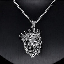 Load image into Gallery viewer, Lion Head & Crown Pendant & Chain - Mens Necklace - Lion King - ManKave Gifts & Accessories