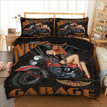 Load image into Gallery viewer, Motorhead Garage Beding Set - Double Duvet + 2 Pillow Cases - ManKave Gifts & Accessories