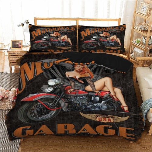 Motorhead Garage Beding Set - Double Duvet + 2 Pillow Cases - ManKave Gifts & Accessories