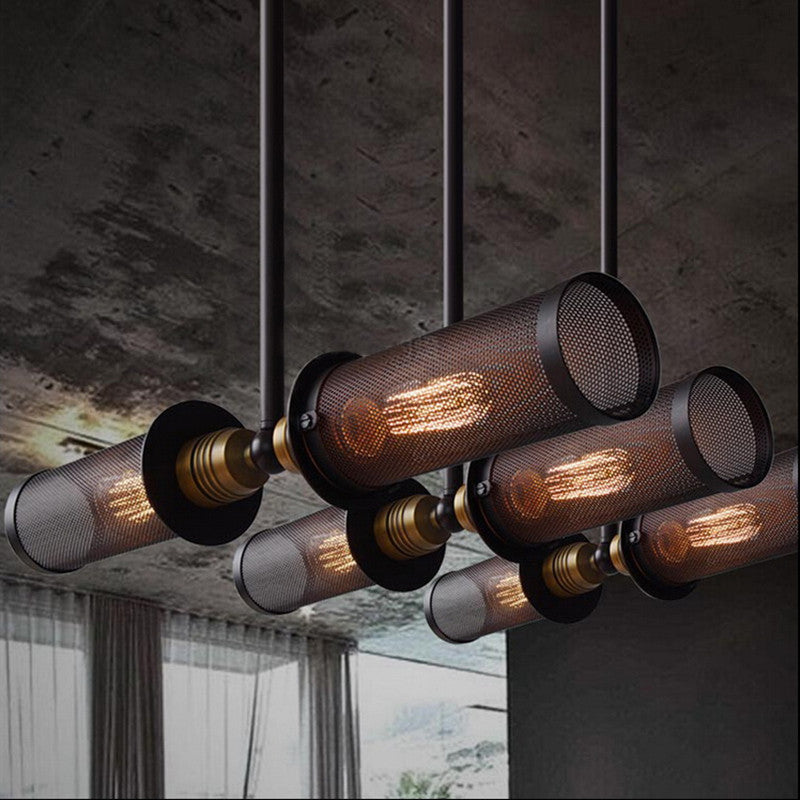 Industrial Loft Style Double Side Pendant Lamp - Metal Net Cover - ManKave Gifts & Accessories