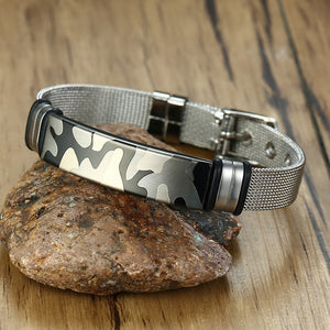 Stainless Steel Camouflage tag Bracelet - Man-Kave