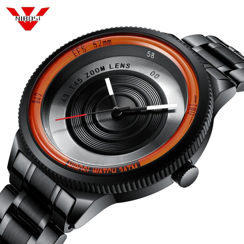 Nibosi Mens Watch - Unique Camera Lens Style - ManKave Gifts & Accessories