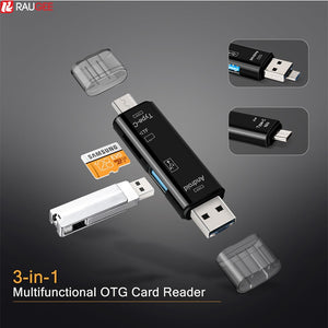 3 In 1 USB Card Reader - Type C & Micro USB OTG Card Adapter - ManKave Gifts & Accessories
