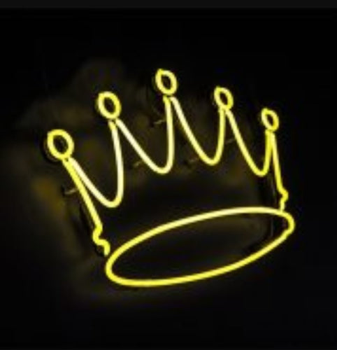 Yellow Crown Glass Neon Light Sign - ManKave Gifts & Accessories