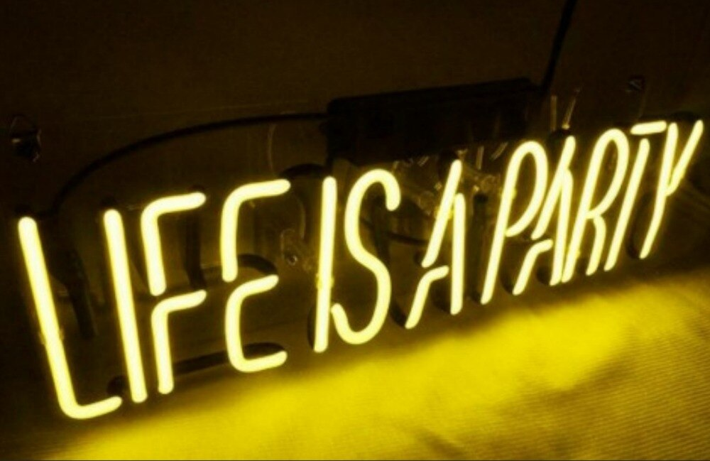 Life is A Party Glass Neon Light Sign - ManKave Gifts & Accessories