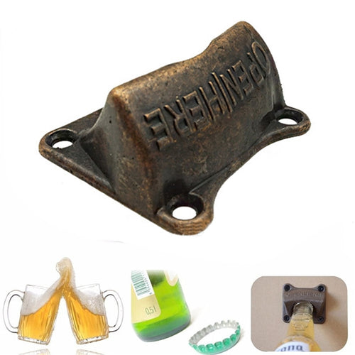 Wall Mount Bottle Opener - Metal Bottle Opener Bar Tool - ManKave Gifts & Accessories