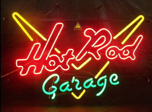 Hot Rod Garage Glass Neon Light Sign - ManKave Gifts & Accessories