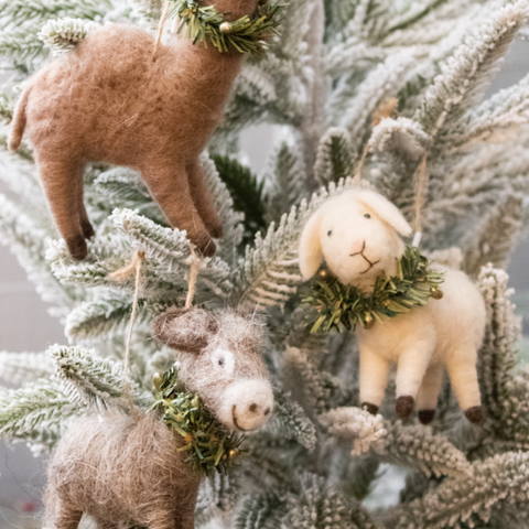 Wool Felt Nativity Animal Ornaments
