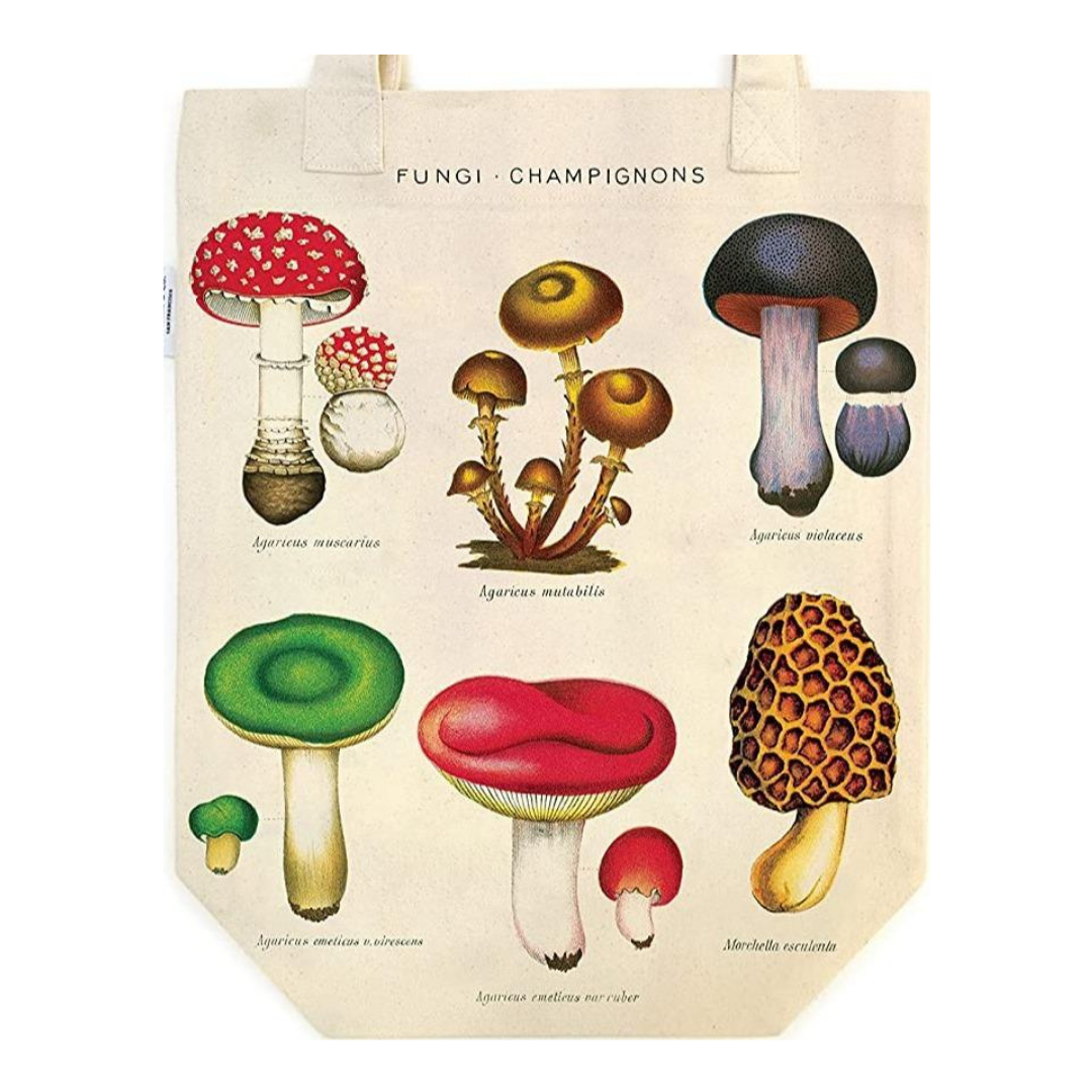 Vintage-Inspired Mushrooms Tote